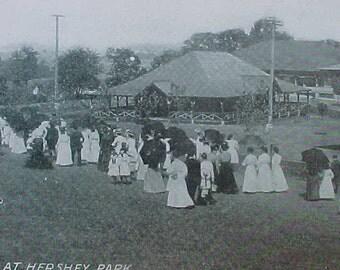 Edwardian Ladies Picnic Day Antique Hershey Chocolate Co.  Pennsylvania Postcard 1908-1911