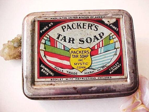 Antique Packer's Tar Soap Art Deco Tin