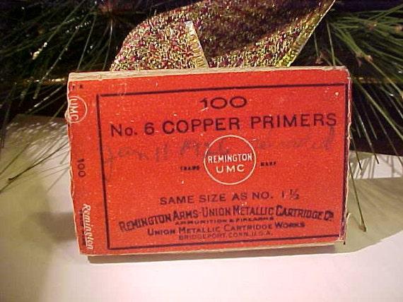REDUCED....Art Deco Remington Arms Union Metallic Cartridge Co. Box Copper Primers Vintage UMC