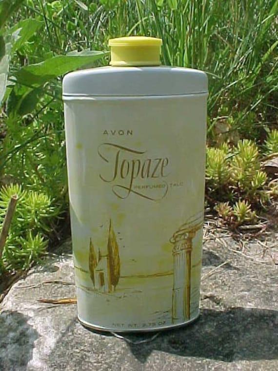 Vintage AVON Topaze Perfumed Talc Advertising Tin Powder Talcum Unused