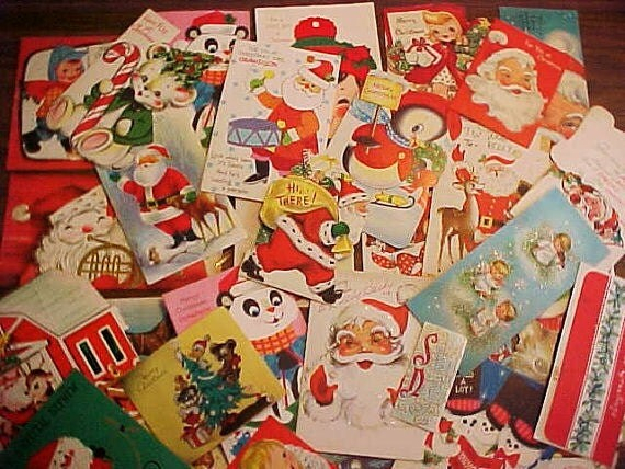 REDUCED...Vintage Christmas Greeting Cards 1950 to 1960s Santas Snowmen Lot of 33 Craft Destash