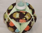Large Baby Bottle Holder Ball-Owl with Green Background - sewlittleones