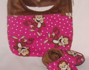 Pink Giggle Monkey Bib and Shoes Set