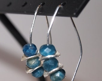 Silver Dangle Earrings with Blue Stones, Small Dangle Earrings, Blue Apatite and Silver Dangle Earrings