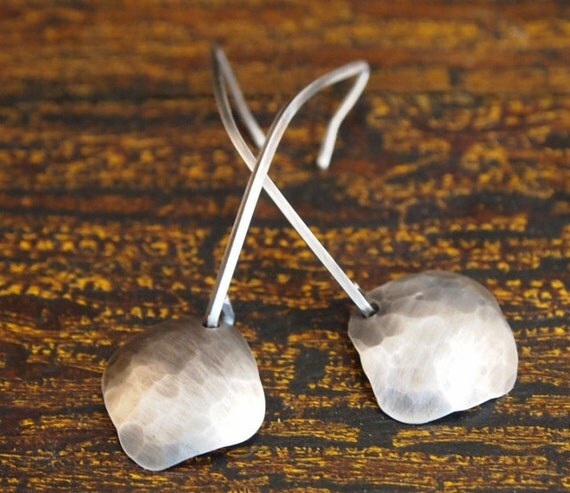 Hammered Sterling Silver Earrings, Sterling Silver Dangle Earrings with Hammered Square Charms