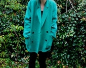 Bright Green Double Breasted Wool Coat