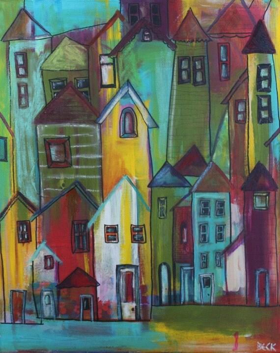 original mixed media painting of neighbourhood urban houses