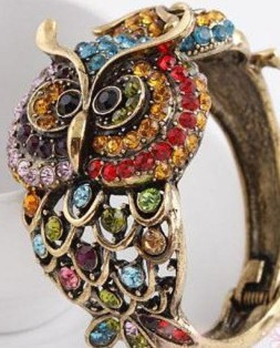 Free Shipping Vintage OWL Mother and Baby Rhinestone Bracelet 1970 Fits sizes 6 to 7 1/2 wrist