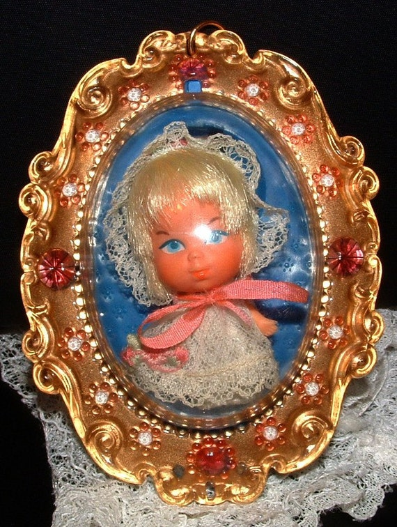 """FREE Shipping Retro Liddle Kiddles """"Lucky Locket Kiddle"""" LARKY Kiddle VERY Hard to Find item - Vintage Original outfit 45 years Old 1966"""