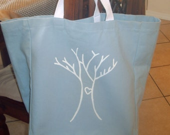 reusable shopping bag, Canvas shopping bag, canvas grocery bag, I Heart Trees - Comes in different colors