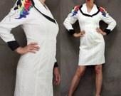 80s Vintage Big Shoulder White Power Office Zip Front Dress sz 8 M NWT Deadstock