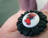 Purrrfect RED KITTY Chunky Cocktail Ring, altered art vintage buttons, silver plated adjustable band, noir cat, black red OOAK ring gift