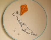 Carried Away Kite Embroidery Picture
