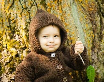 Baby Hooded Jacket, Sizes 3 months - 18 months, 100% Wool Jacket, Wool Blend Jacket, Knit Jacket, Brown Jacket, Gray Jacket, Cream Jacket