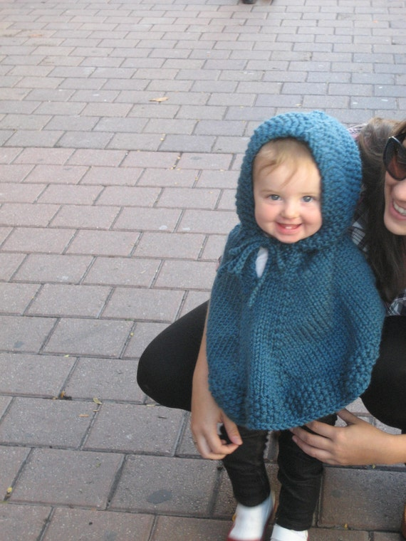 Poncho With Hood Knitted Child  Size 12/18 Size 2 and Size 3 - 4 Wool-Blend  Cape Blue Pink Gray Brown