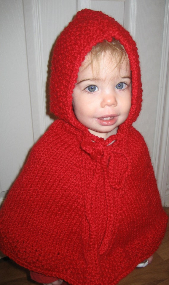 Baby Knit Poncho With Hood ,Wool-blend Poncho,Poncho Sizes 1 - 3 months, 6 to 9 Months, Poncho Halloween Costume,Red Poncho