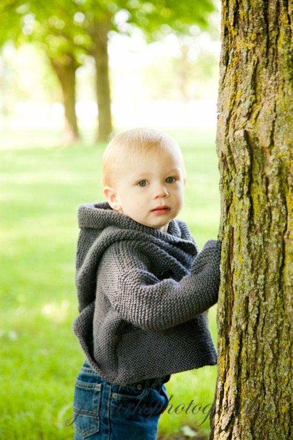 Baby Hooded Jacket, Child Coat, Toddler Wool Jacket, Jacket Size 3 Mth - 12  Mth, Child Duffle coat, Red Hooded Coat, Gray Hooded Jacket