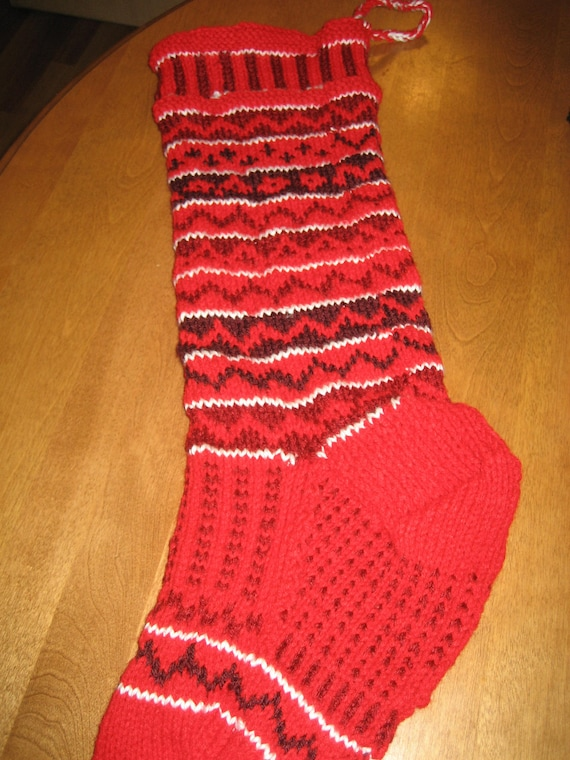 Christmas Stocking Knit, Red Christmas Stocking, Green Christmas Stocking, Blue Christmas Stocking