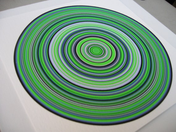 Particle Rings Blue Green 1g  Limited Edition Giclee Print by Generative Artist Kristin Henry