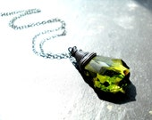 Crystal Necklace, Swarovski Sterling Silver Necklace Oxidized Wire Wrapped Green Baroque