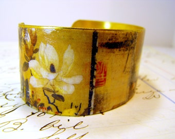 Brass Cuff Bracelet Handpainted Gold Accents - Kicks on Route 66 Adjustable