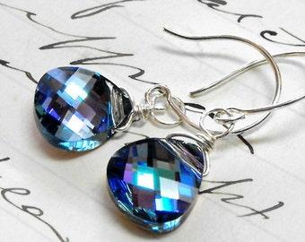 Rare Bermuda Blue Swarovski Crystal Earrings in Sterling Silver