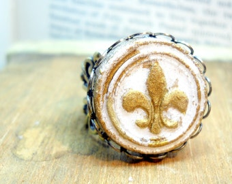 Fleur de lis Ring Handmade Painted and Glazed Medieval Style Porcelain Medallion - Adjustable Ring Under 30 Valentine