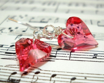 Crystal Earrings Pink Heart -  Swarovski Crystal Sterling Silver Earrings- Be My Valentine Wire Wrapped Under 30 Valentine