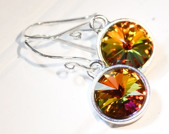 Summer Sunrise Sterling Silver Earrings Rare Vintage Swarovski Crystals Artisan Handmade French Hooks Bridesmaids gift Under 30 Valentine