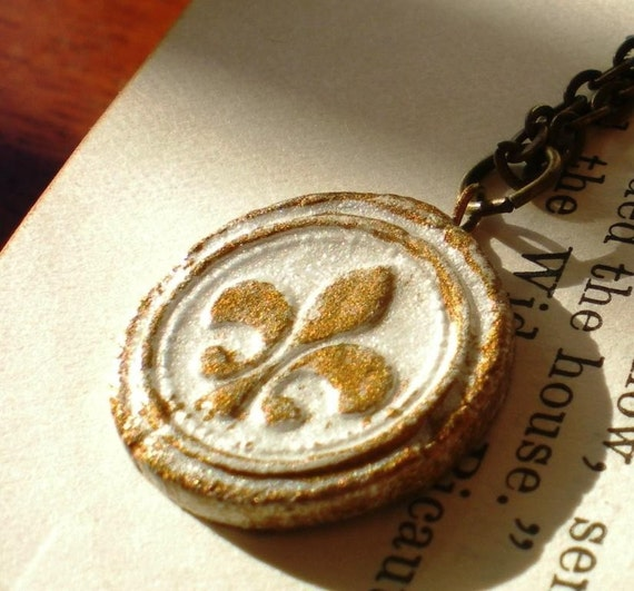 Fleur de lis Necklace Pendant - Handmade Painted and Glazed Medieval Style Porcelain Medallion