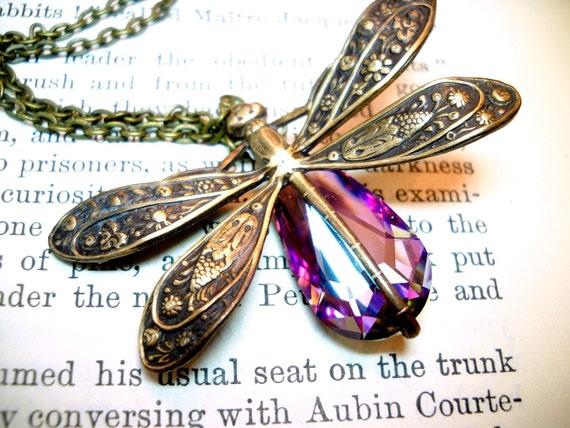 Dragonfly Necklace, Dragonfly Pendant Brass Jewelry Swarovski Rainbow Crystal Antique Brass Necklace Amethyst Birthstone
