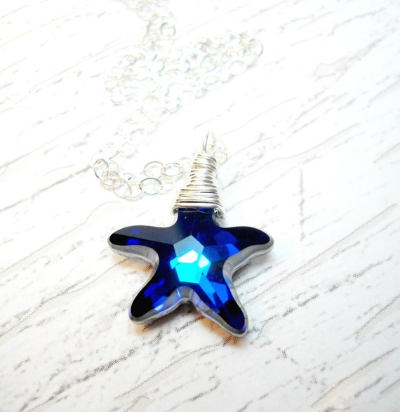 Starfish Necklace Sterling Silver Bermuda Blue Wire Wrapped Swarovski Crystal Pendant and Chain