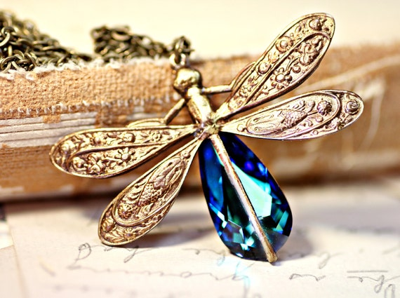 Dragonfly Necklace - Swarovski Bermuda Blue Crystal Antique Brass Necklace