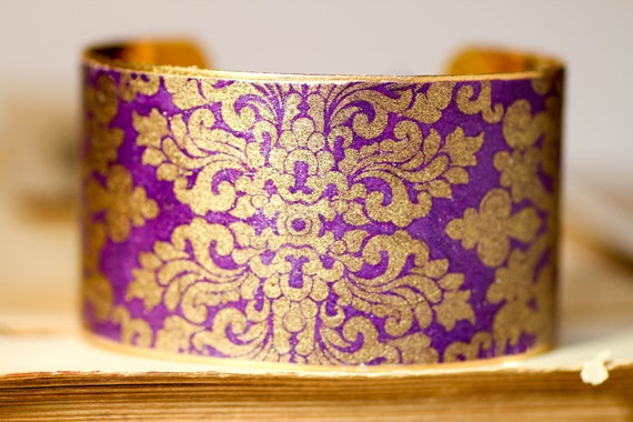 Regal Purple and Gold Nepal Brass Cuff Bracelet Handmade Gold Gilded Paper on Brass Cuff Costed with Resin
