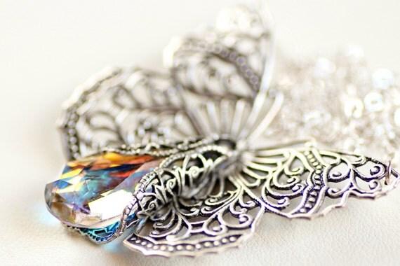 Butterfly Necklace Victorian Filigree - Swarovski Crystal Vintage Estate Rhinestone Filigree Style
