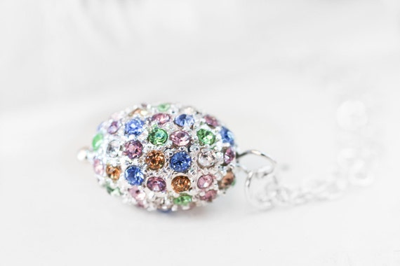 Crystal Egg Necklace - Pastel Pave Crystal Egg with Sterling Silver Chain Spring Holiday Easter, Dragon Egg Pendant
