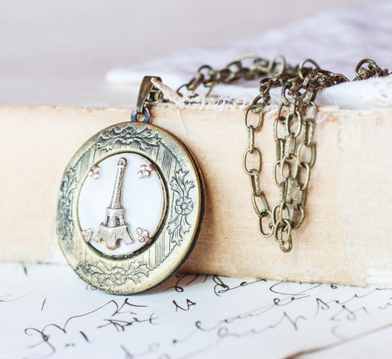 Eiffel Tower Locket Paris Mother of Pearl Vintage Earring Upcycled Antique Brass French Locket One of a kind OOAK