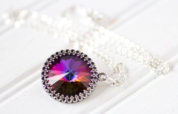 Rare Volcano Crystal Necklace Victorian Crown Setting Swarovski Crystal Pendant on Sterling Silver Chain Art Nouveau Vintage Crystal