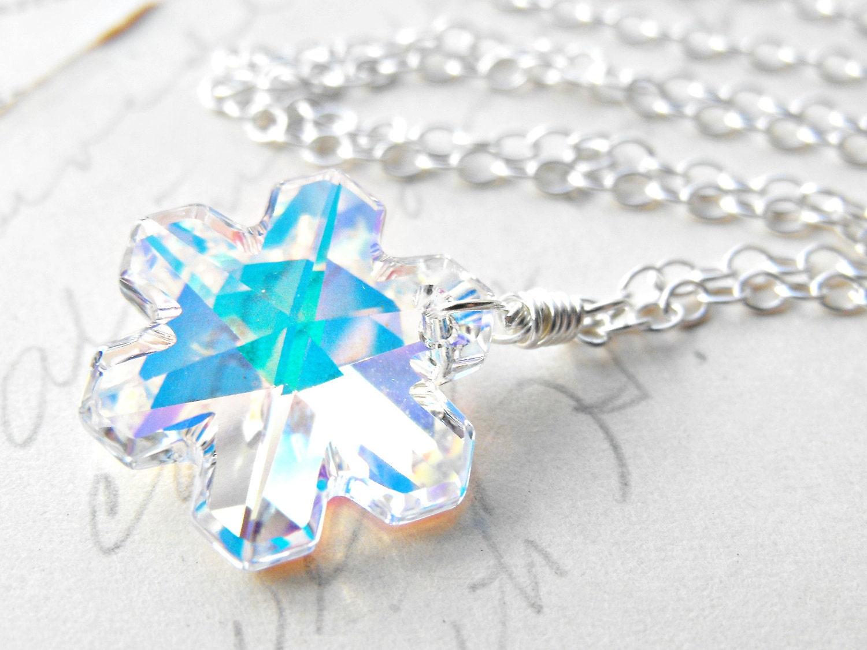 snowflake necklace swarovski borealis pendant