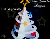SVG format, DXF files & PDF hand cutting files Christmas Tree Ornament