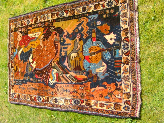 Musical scene. Hand woven pictorial Herati rug kilim from Afghanistan.