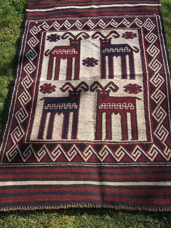 Fun Handwoven Sumak Wool Kilim/Mat from Afghanistan. Four Goats.