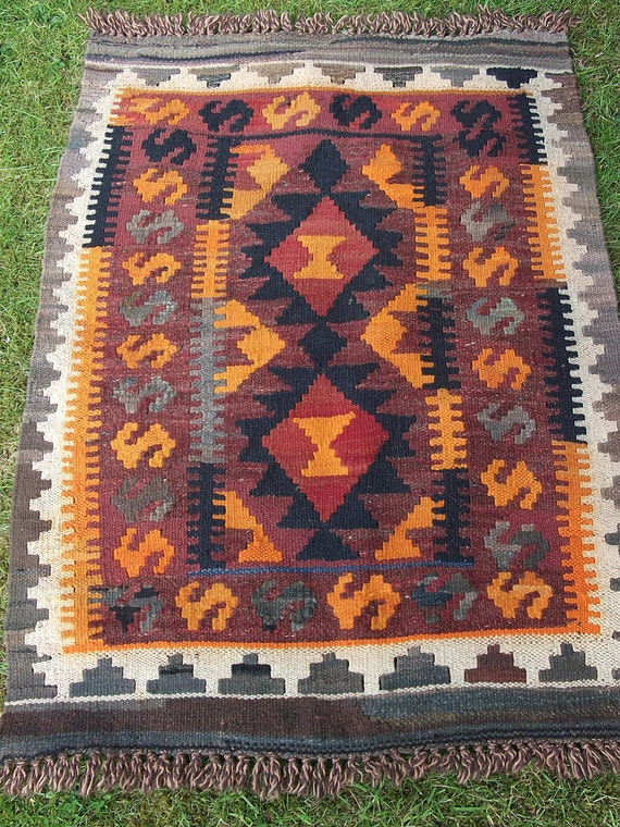 Bright Orange Maimana Hand woven Rug/Kilim Mat from Afghanistan.