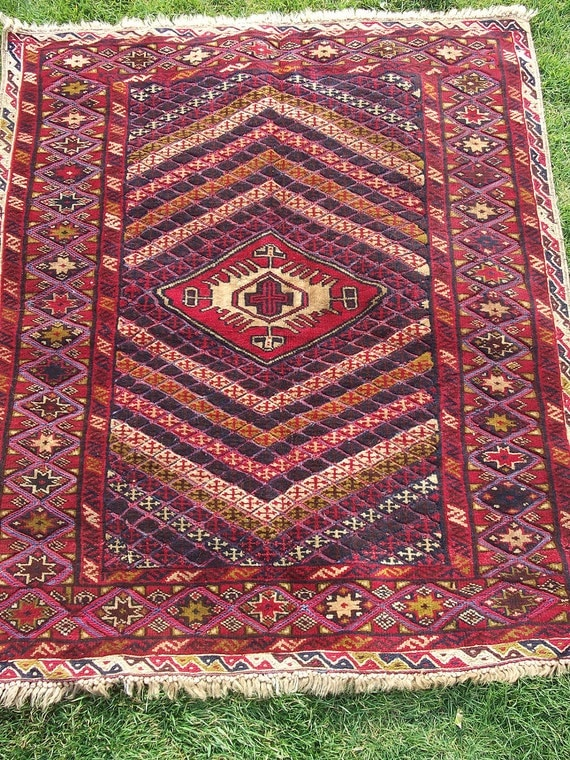 Nice Patterned 4 x 3 ft Red  rug/kilim from the East. Hand woven.