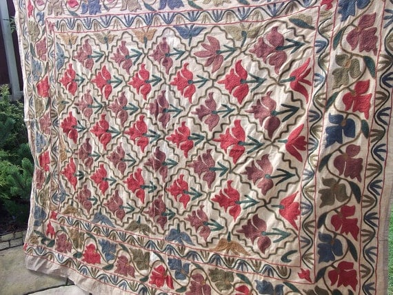 Embroidered 6 ft  x 5 ft. Samarkand Suzani/ Bed cover/ Wall hanging. Natural tones.