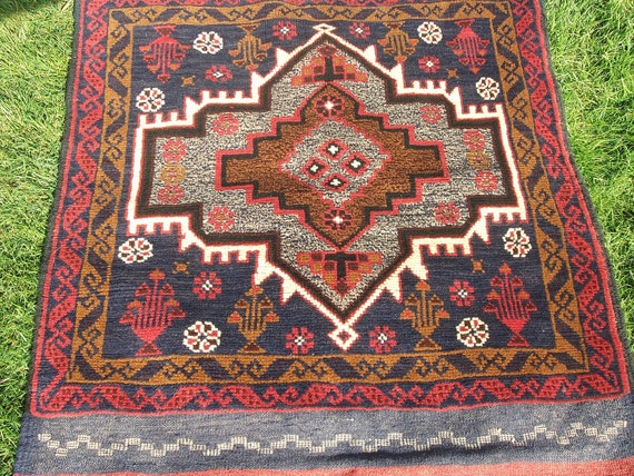 Nice Red Brown Pictorial Baluchi rug/kilim from Afghanistan. Hand woven.