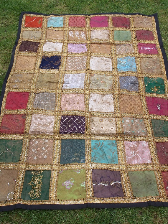 Exquisite 5 x 3  Sparkling Patchwork  Quilt/Wall Hanging.  Hand made.