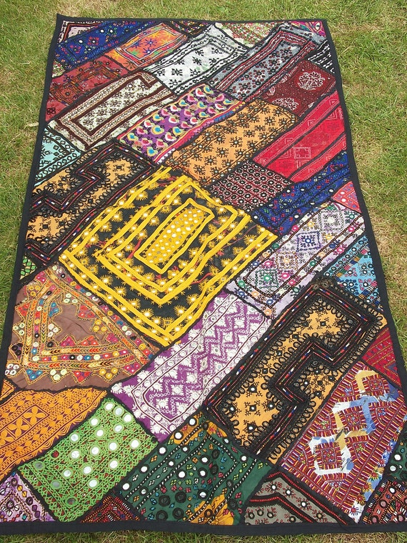 SALE: Unique Sparkling Patchwork  Throw Wall Hanging.  Hand made.