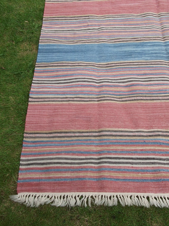 8  x 6 feet Striped Pastel colours Wool Rug/Kilim/Carpet. Hand woven. Afghanistan.