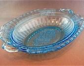 Vintage Mayfair Open Rose Ice Blue Depression Oval Vegetable Dish